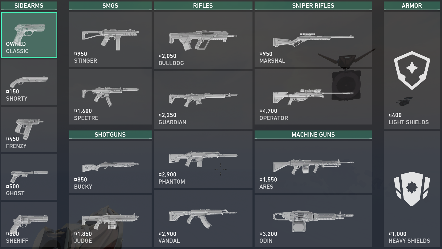 The new in-game weapon screen.